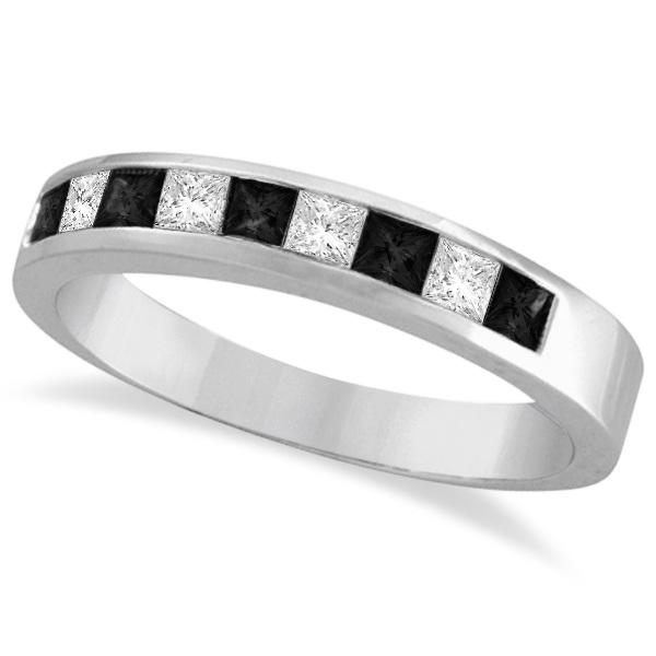 Princess-Cut Black & White Diamond Ring Band 14k White Gold (0.50ct)