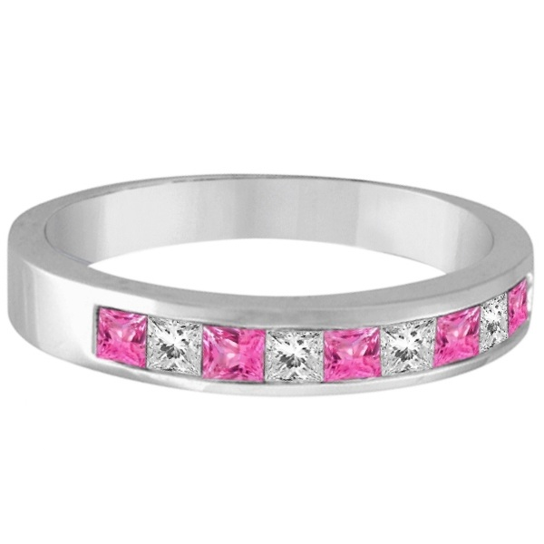 Princess Channel-Set Diamond & Pink Sapphire Ring Band 14k White Gold
