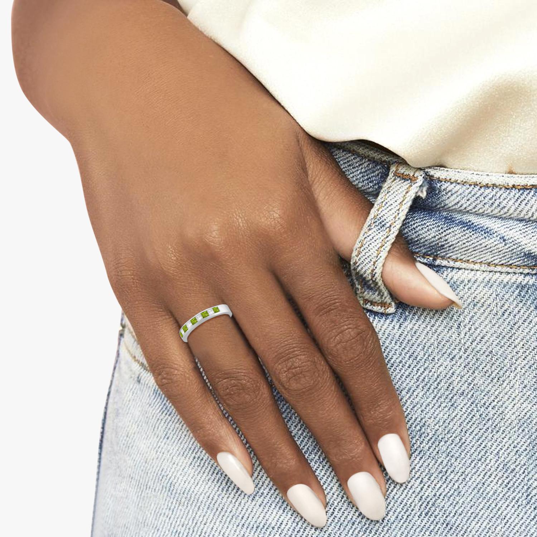 Princess Channel-Set Diamond & Peridot Ring Band 14K White Gold