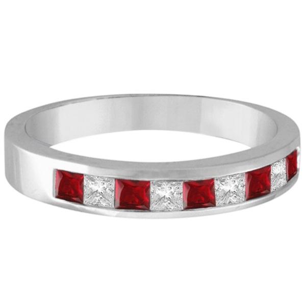 Princess-Cut Channel-Set Diamond & Ruby Ring Band 14k White Gold