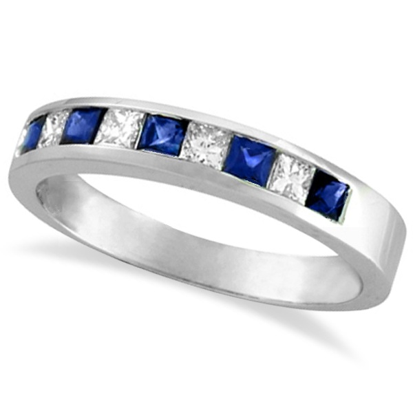 Princess-Cut Diamond & Sapphire Wedding Ring Band in Palladium