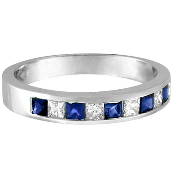 Princess-Cut Diamond & Sapphire Wedding Ring Band in Palladium