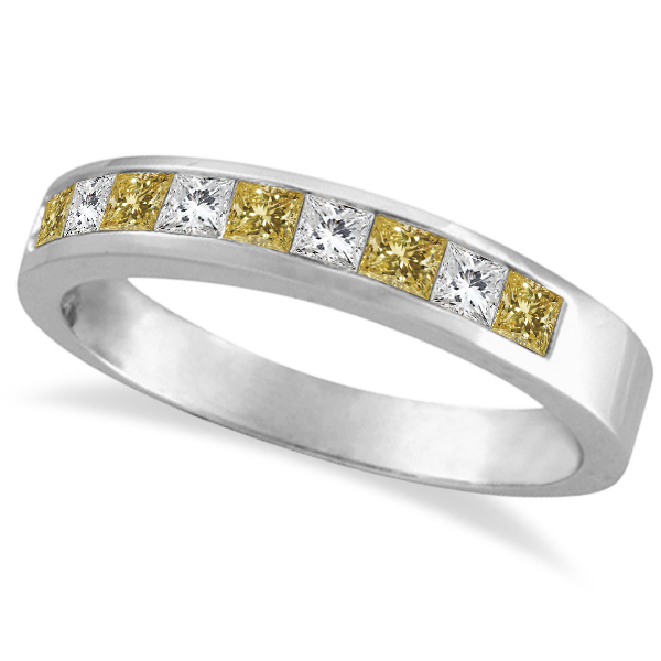 Princess-Cut Yellow Canary & White Diamond Ring Band 14k White Gold