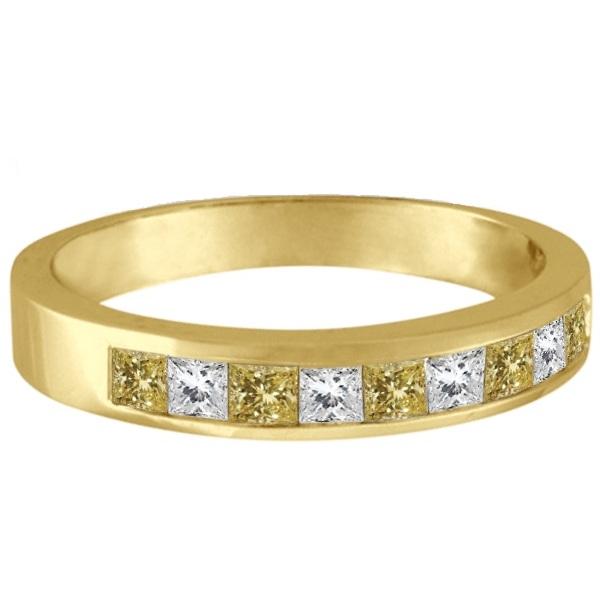 Princess-Cut Yellow Canary & White Diamond Ring Band 14k Yellow Gold