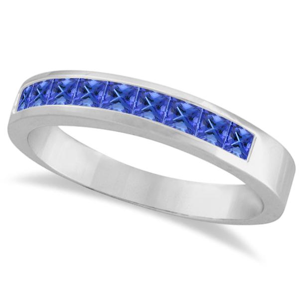 Princess-Cut Channel-Set Stackable Tanzanite Ring 14k White Gold 1.00ct