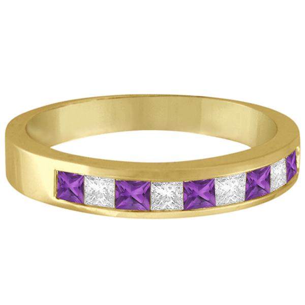 Princess Channel-Set Diamond & Amethyst Ring Band 14K Yellow Gold