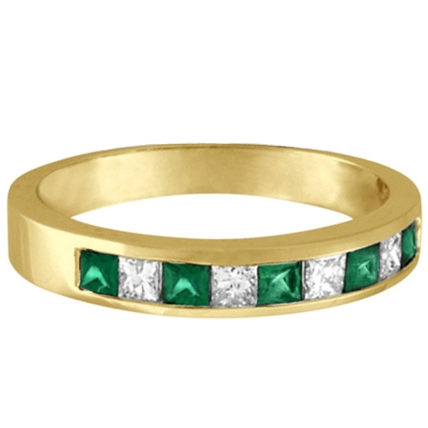 Princess-Cut Diamond & Emerald Ring Band 14k Yellow Gold (0.73ct)