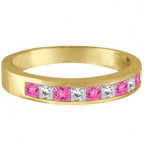 Princess Channel-Set Diamond & Pink Sapphire Ring Band 14k Yellow Gold