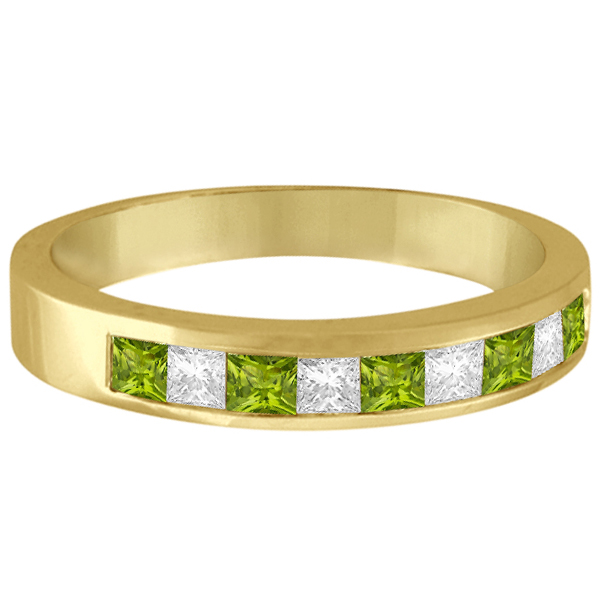 Princess Channel-Set Diamond & Peridot Ring Band 14K Yellow Gold
