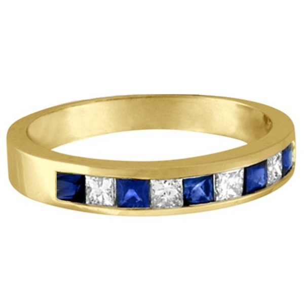 Princess-Cut Channel-Set Diamond & Sapphire Ring Band 14k Yellow Gold