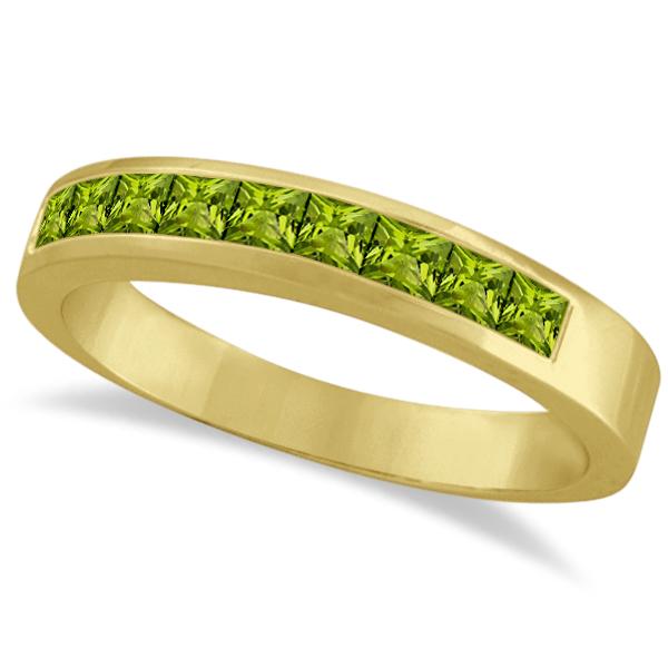 princess cut channel set stackable peridot ring 14k yellow