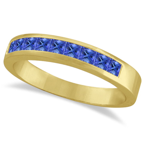 princess cut channel set tanzanite ring band 14k yellow