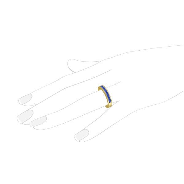 Princess-Cut Channel-Set Tanzanite Ring Band 14k Yellow Gold 1.00ct
