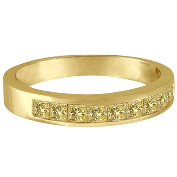 Princess-Cut Channel-Set Yellow Canary Diamond Ring Band 14k Y. Gold