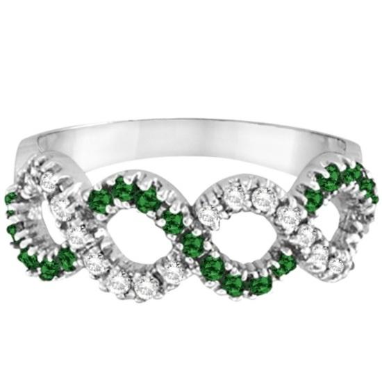 Emerald & Diamond Swirl Wavy Ring 14k White Gold (0.55cttw)