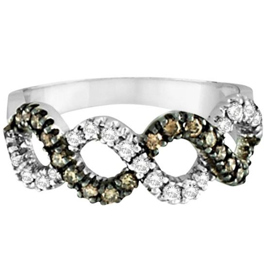 Champagne & White Diamond Swirl Wavy Ring 14k White Gold (0.55ct)