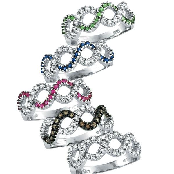 Pink Sapphire & Diamond Swirl Wavy Ring 14k White Gold (0.55cttw)