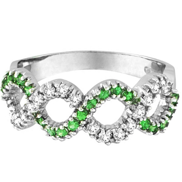 Tsavorite & Diamond Swirl Wavy Ring 14k White Gold (0.55cttw)