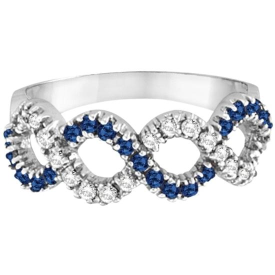 Blue Sapphire & Diamond Swirl Wavy Ring 14k White Gold (0.55cttw)