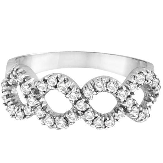 Diamond Swirl Right-Hand Wavy Ring in 14k White Gold (0.50ct)