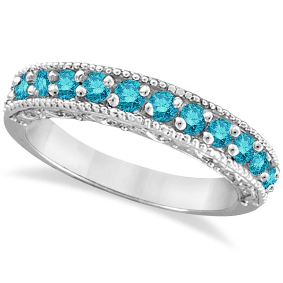 Blue Diamond Ring Anniversary Band 14k White Gold (0.30ct)