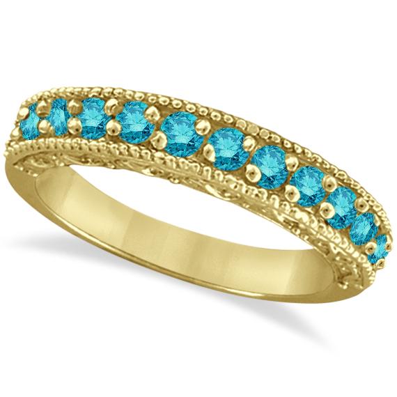 Blue Diamond Ring Anniversary Band 14k Yellow Gold (0.30ct)