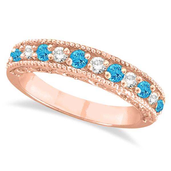 Blue Topaz & Diamond Ring Anniversary Band 14k Rose Gold (0.30ct)