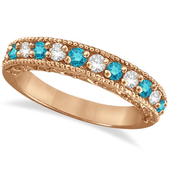 Blue & White Diamond Ring Anniversary Band 14k Rose Gold (0.30ct)