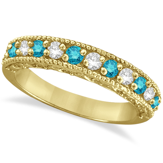 Blue & White Diamond Ring Anniversary Band 14k Yellow Gold (0.30ct)
