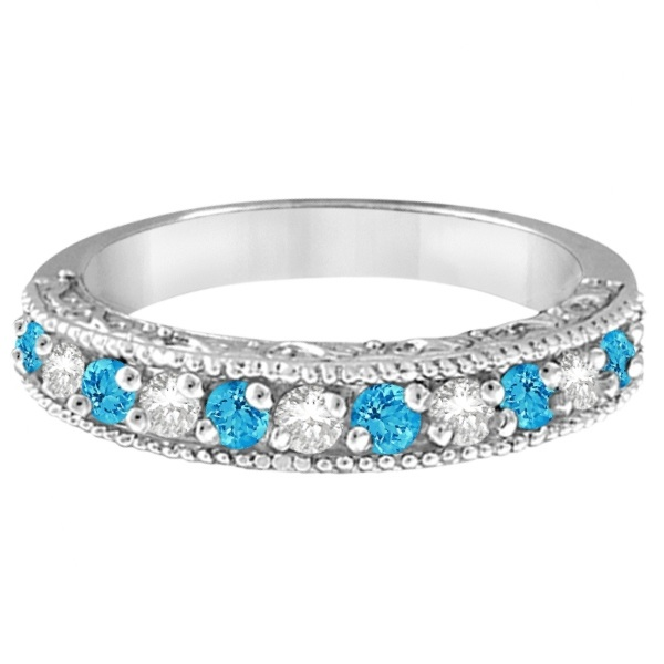 Blue Topaz & Diamond Ring Anniversary Band 14k White Gold (0.30ct)