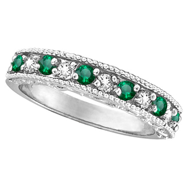 ring dp beautifully amazon anniversary crafted cut stones band cz emerald eternity com with bands
