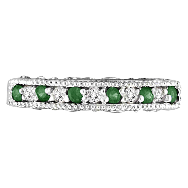 emerald ring anniversary band 14k white gold 0 30ct