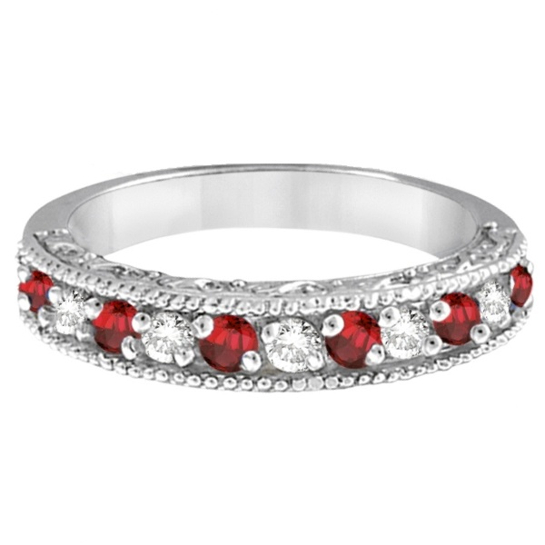 Garnet Ring Bands: Garnet & Diamond Ring Anniversary Band 14k White Gold 0