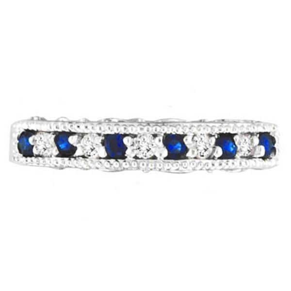 Blue Sapphire & Diamond Ring Anniversary Band 14k White Gold (0.30ct)