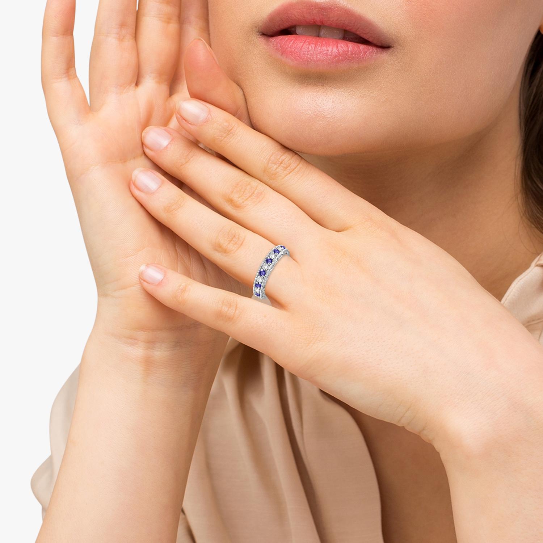 Tanzanite & Diamond Ring Anniversary Band 14k White Gold (0.30ct)