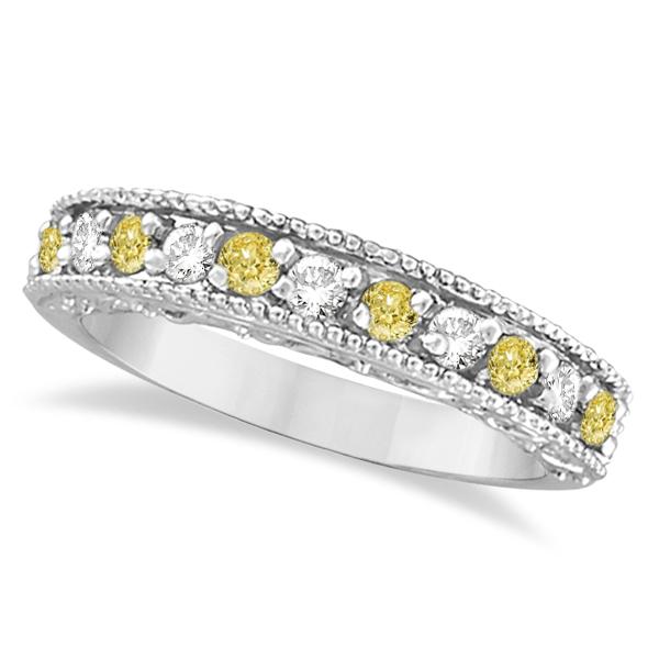Fancy Yellow Canary & White Diamond Ring Anniversary Band 14k White Gold (0.30ct)