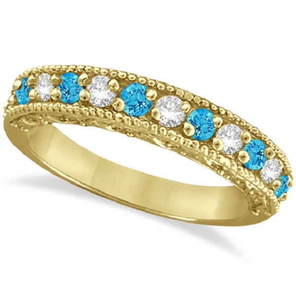 Blue Topaz & Diamond Ring Anniversary Band 14k Yellow Gold (0.30ct)