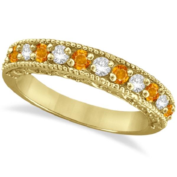 Citrine & Diamond Ring Anniversary Band 14k Yellow Gold (0.30ct)