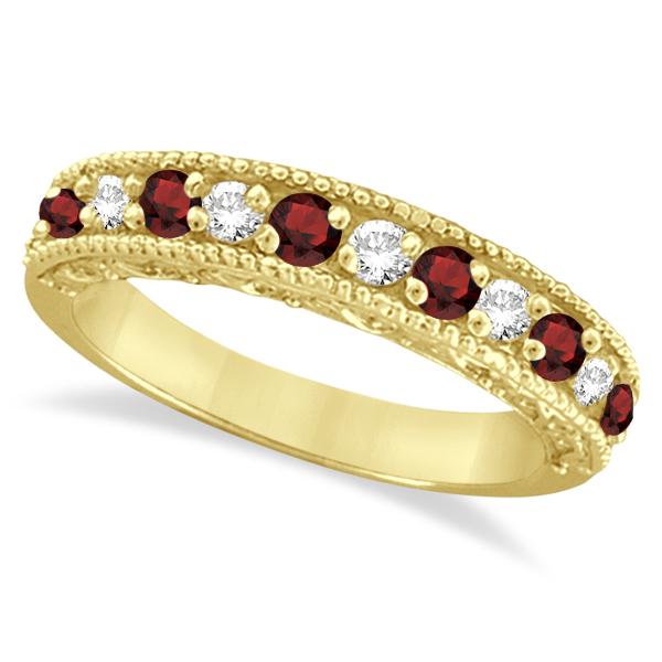 Garnet & Diamond Ring Anniversary Band 14k Yellow Gold (0.30ct)