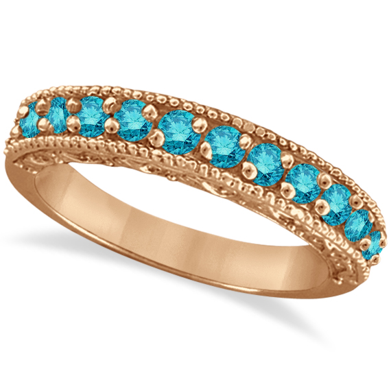 Blue Diamond Wedding Band in 14k Rose Gold (0.45 ctw)
