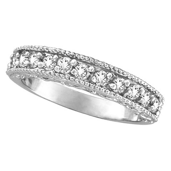 Diamond Wedding Ring Band Filigree Milgrain Edged Palladium (0.50ct)