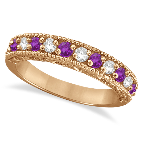 Diamond & Amethyst Band Filigree Design Ring 14k Rose Gold (0.60ct)