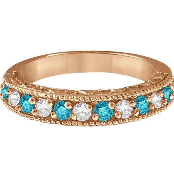 Blue & White Diamond Wedding Band in 14k Rose Gold (0.45 ctw)