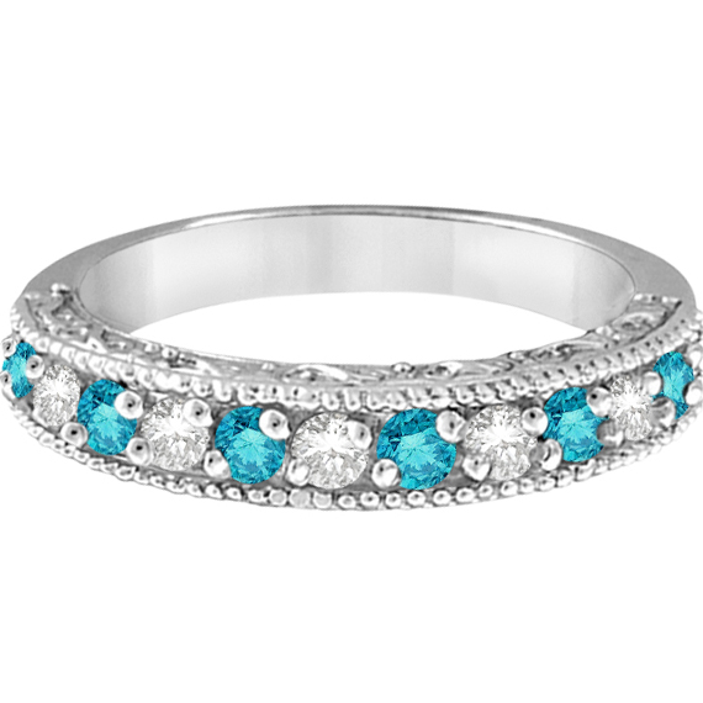 Blue & White Diamond Wedding Band in 14k White Gold (0.45 ctw)