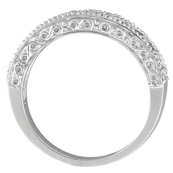 Citrine & Diamond Band Filigree Ring Design 14k White Gold (0.60ct)