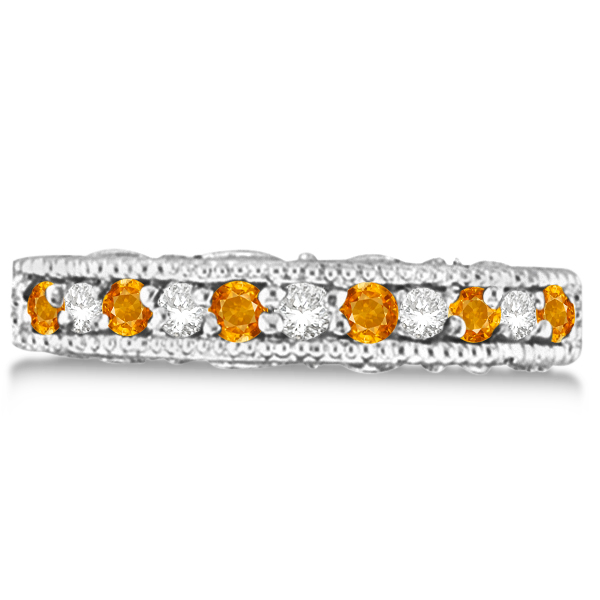 Citrine & Diamond Band Filigree Ring Design 14k White Gold (0.60ct)
