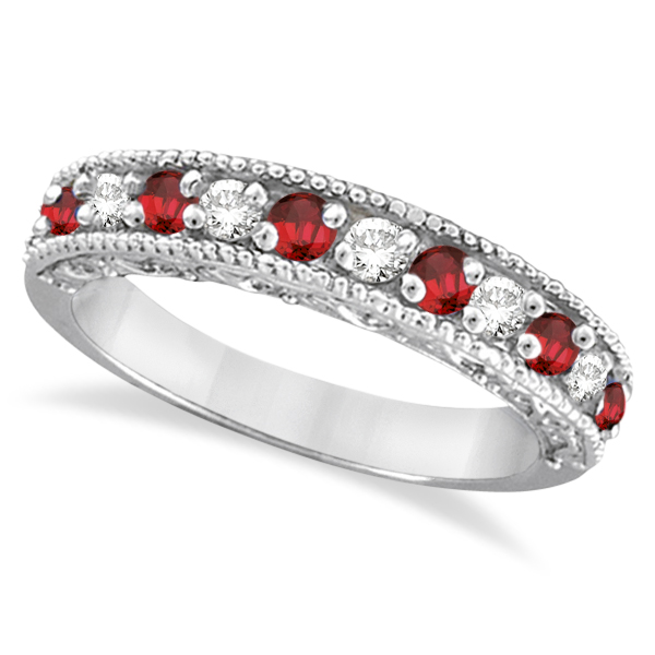 Garnet Ring Bands: Diamond And Garnet Ring Anniversary Band 14k White Gold 0