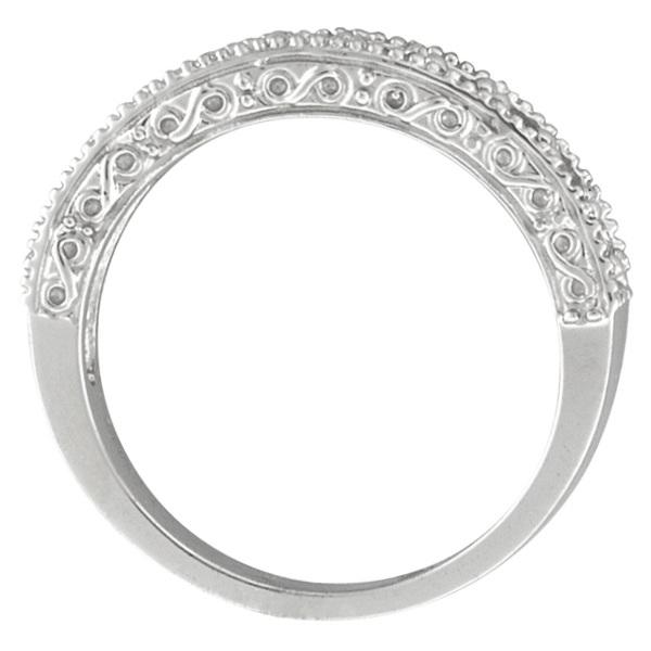 Diamond and Garnet Ring Anniversary Band 14k White Gold (0.59ct)