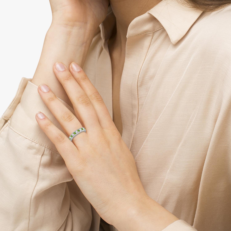 Diamond & Peridot Band Filigree Design Ring 14k White Gold (0.60ct)