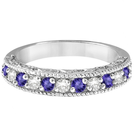 Diamond & Tanzanite Band Filigree Design Ring 14k White Gold (0.60ct)